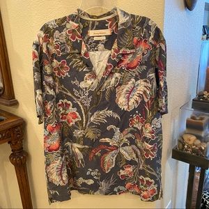 TOMMY BAHAMA Modern Fit 100% Silk Floral Top-XL